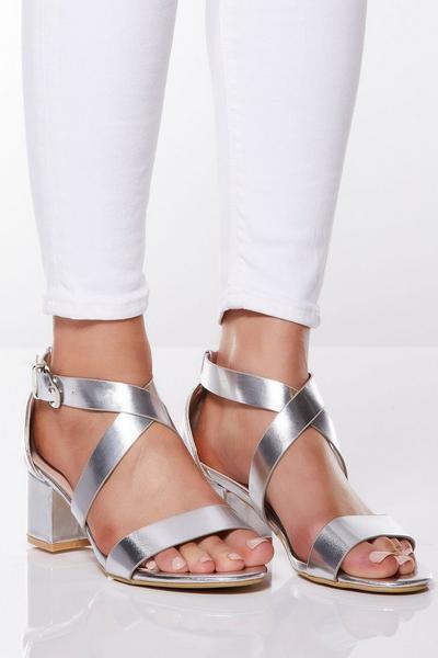 Silver Strap Block Heel Sandals