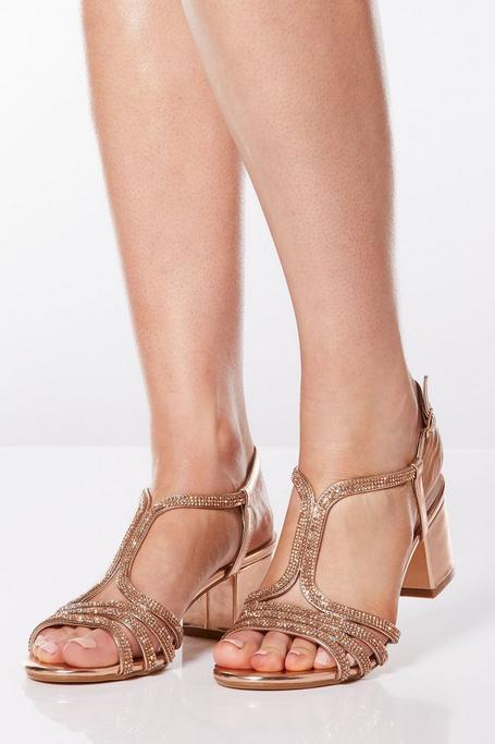 Rose Gold Diamante Strap Block Heel Sandals