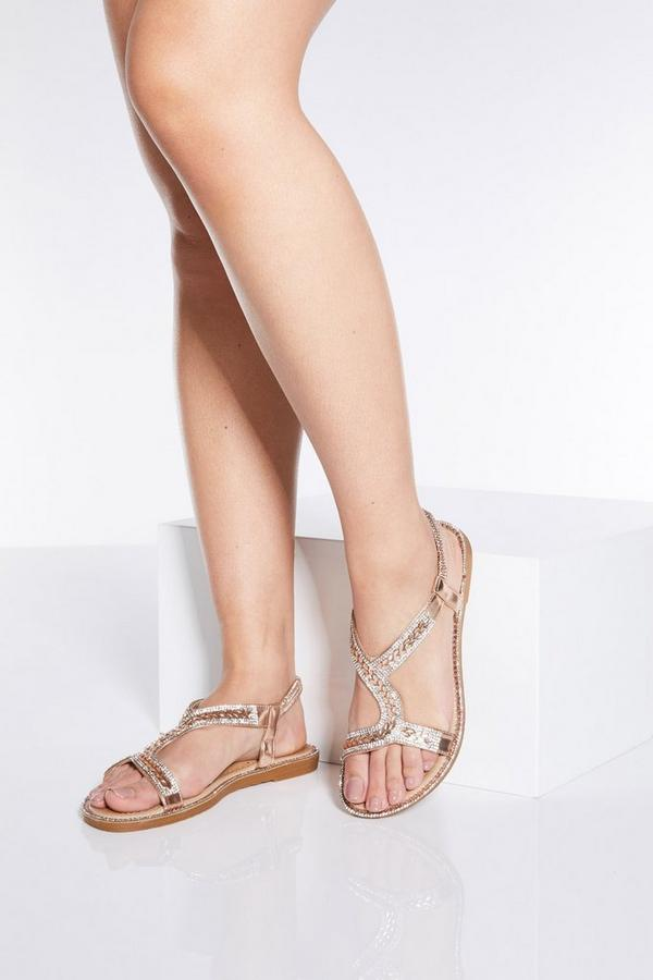Rose Gold Diamante Flat Sandals