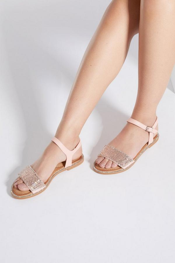 Pink Diamante Flat Sandals