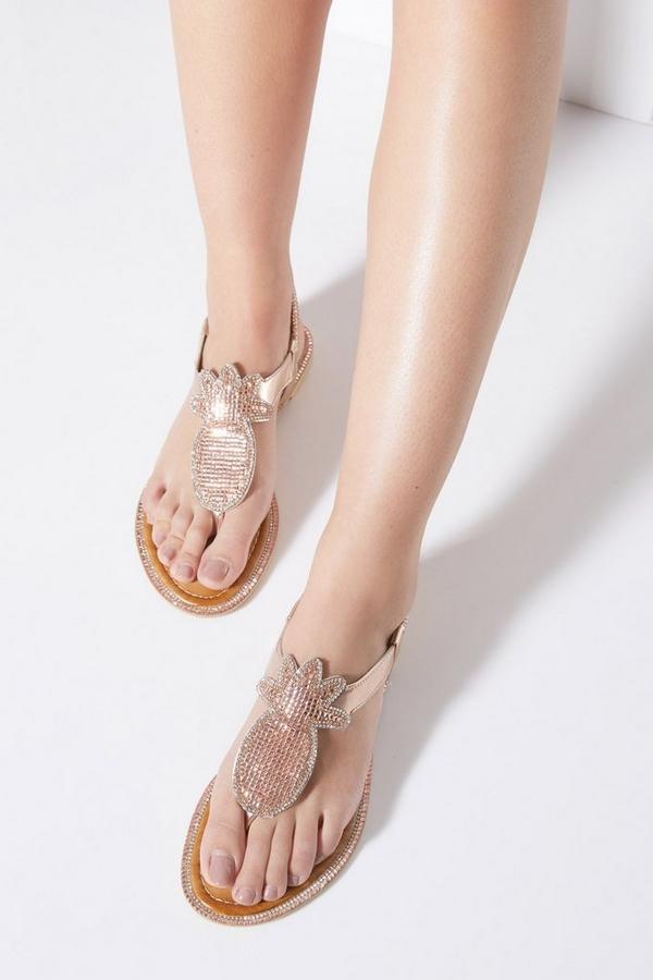Rose Gold Diamante Pineapple Flat Sandals