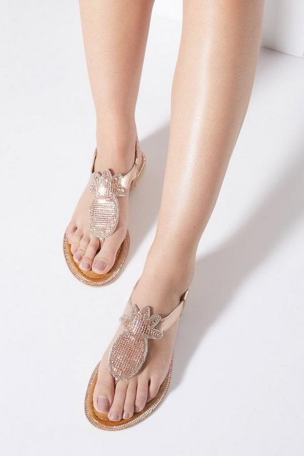 Rose Gold Diamante Pineapple Flat Sandals