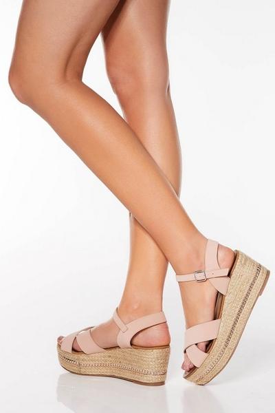 Pink Strap Flatform Sandals