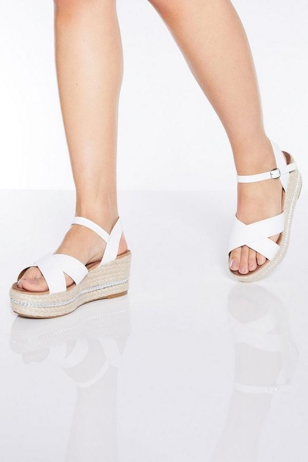 White Strap Flatform Wedge Sandals