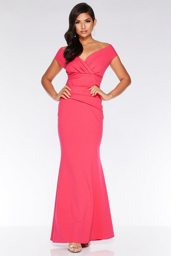 Hot Pink V Neck Wrap Maxi Dress