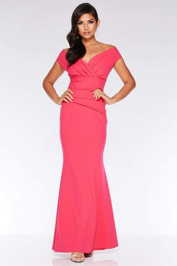 Hot Pink V Neck Wrap Maxi Dress