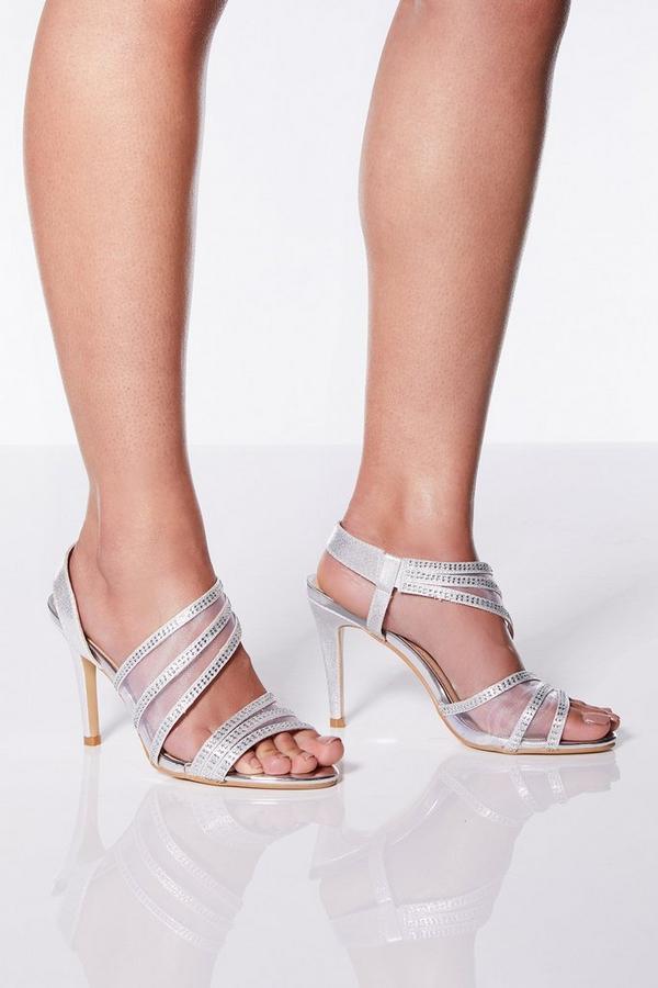Silver Shimmer Aysmmetrical Heel Sandals