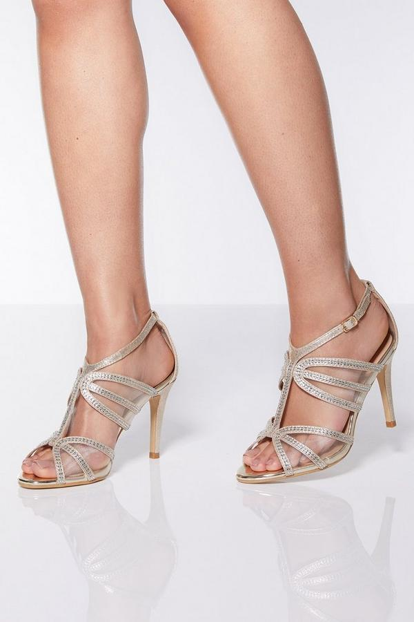 Gold Shimmer Strappy Heel Sandals