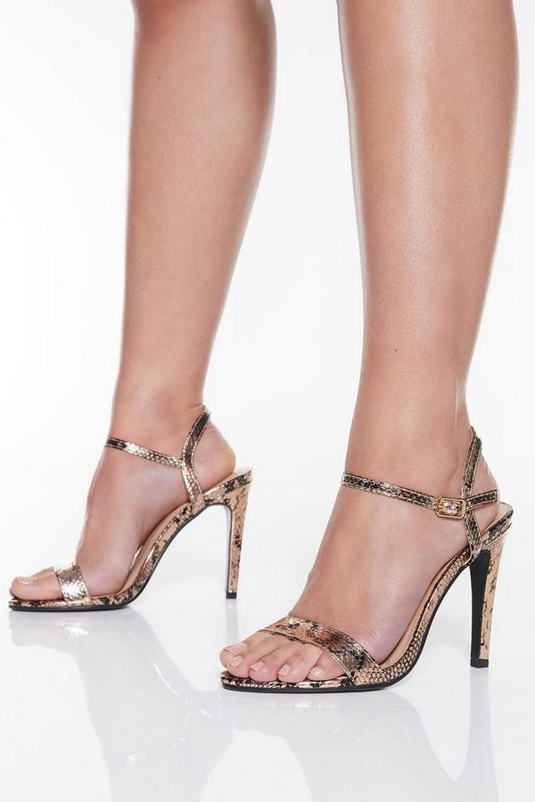 Metallic Snake Print High Heel Sandals