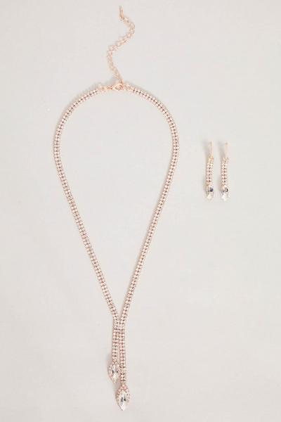 Rose Gold Drop Jewellery Set