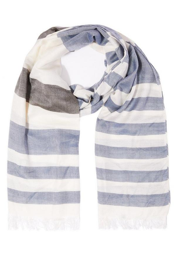 White and Blue Cotton Stripe Scarf