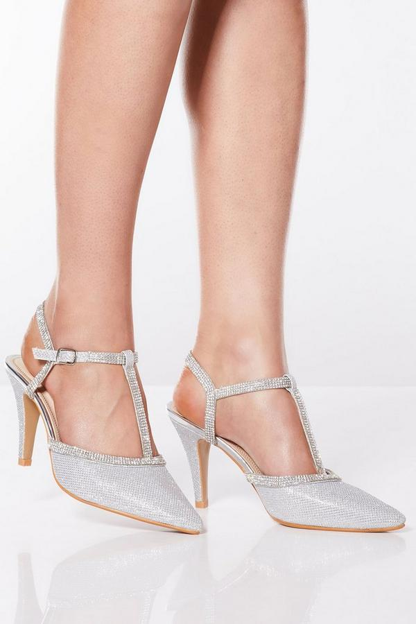 Silver Shimmer Diamante Heeled Shoes