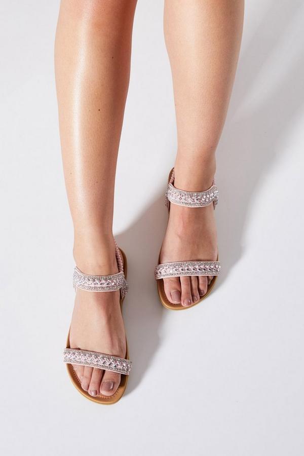 Comfort Pink Diamante Flat Sandals