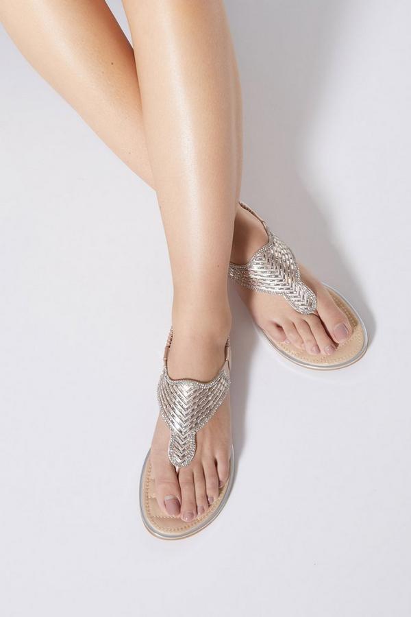Bronze Diamante Flat Sandals