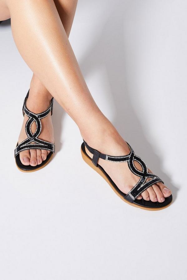 Comfort Black Diamante Mini Wedge Sandals