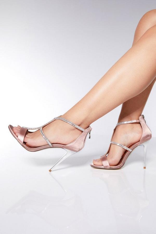 Pink Diamante Strap Heel Sandals