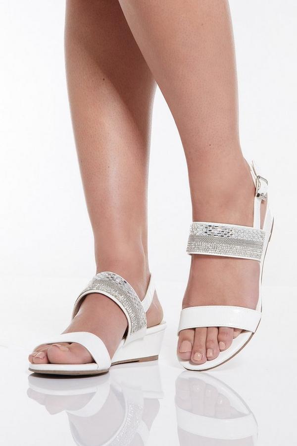 White Mini Wedge Sandals