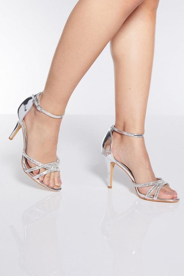 Silver Diamante Heel Sandals