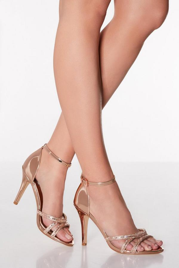 Rose Gold Diamante Heel Sandals