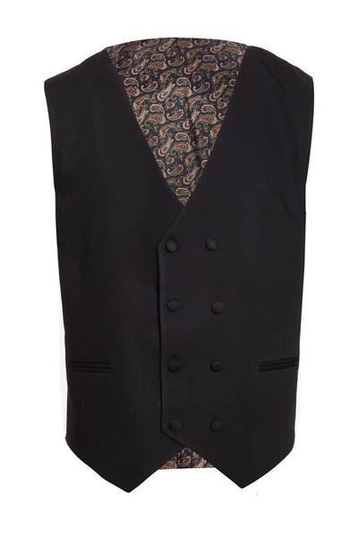 Black Waistcoat With Paisley Print Lining