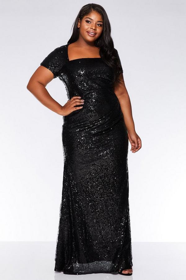 Curve Black Sequin Cap Sleeve Maxi Dress