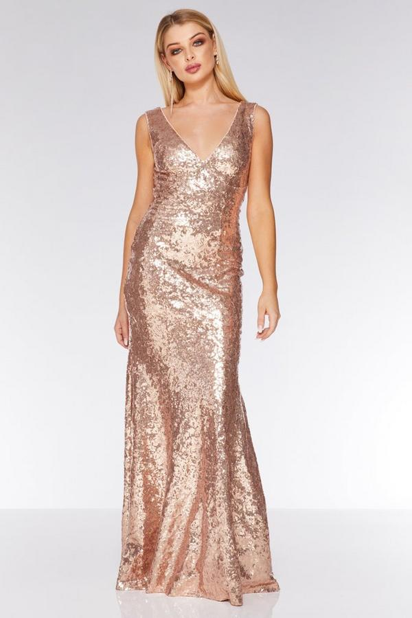 Champagne Sequin V Neck Sleeveless Maxi Dress