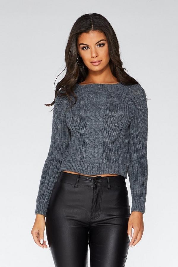Grey Cable Knit Crop Jumper