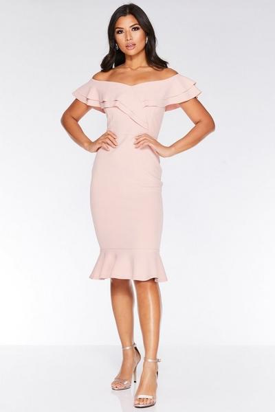 Pink Crepe Frill Hem Midi Dress