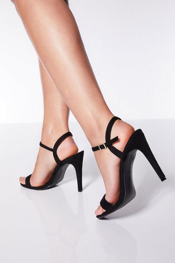 Black Faux Suede Heel Sandals