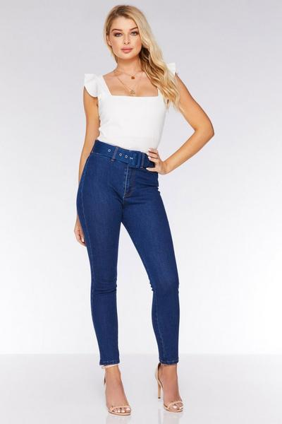 Blue High Waist Belted Skinny Jeans