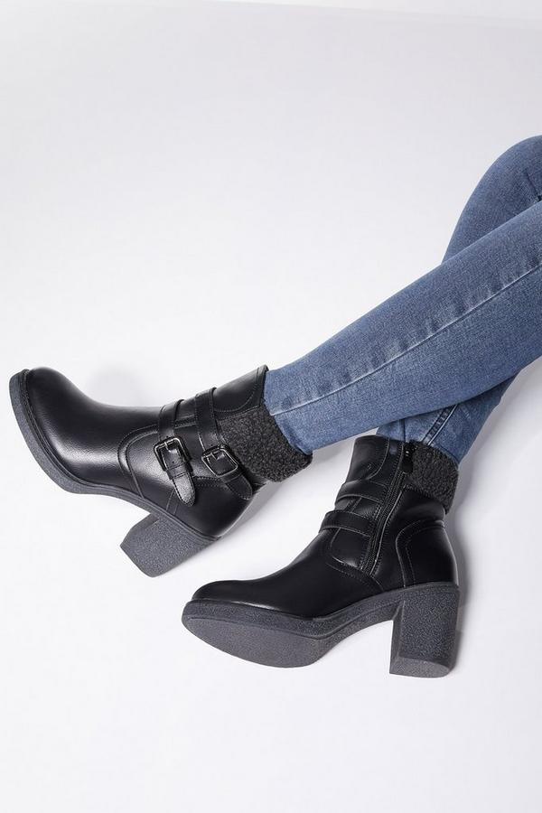 Black Faux Fur Buckle Ankle Boots
