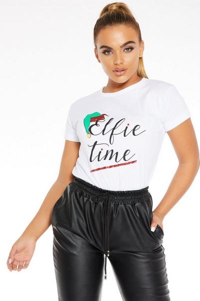 White Glitter Elfie Time T-Shirt