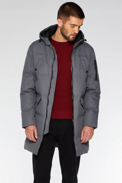 Grey Long Line Quilted Parka