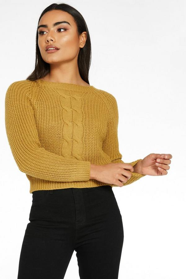 Mustard Cable Knit Crop Jumper