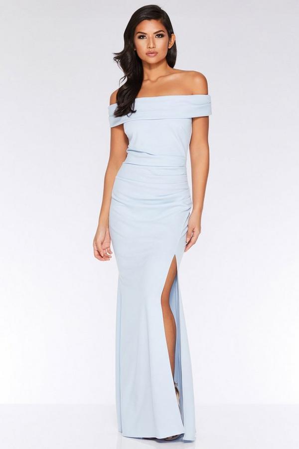 Light Blue Bardot Ruched Split Maxi Dress