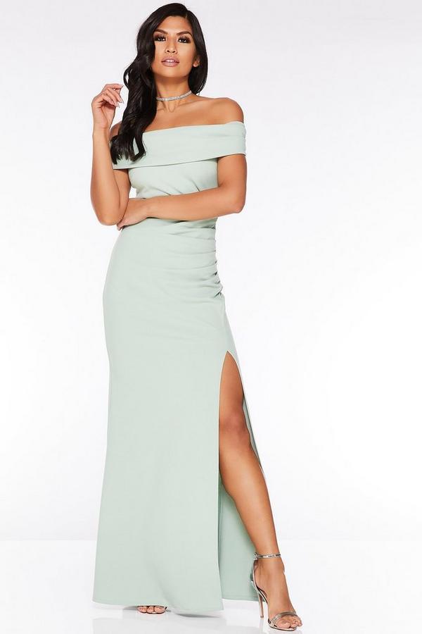 Sage Green Bardot Ruched Split Maxi Dress