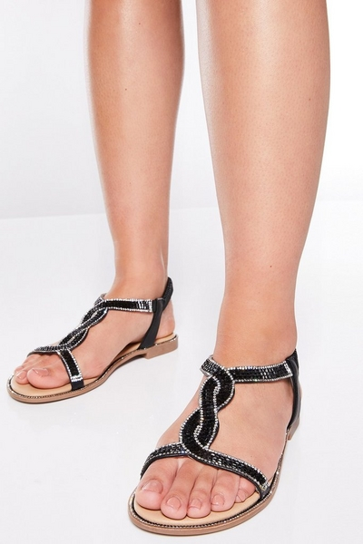 Black Diamante Twist Sandals
