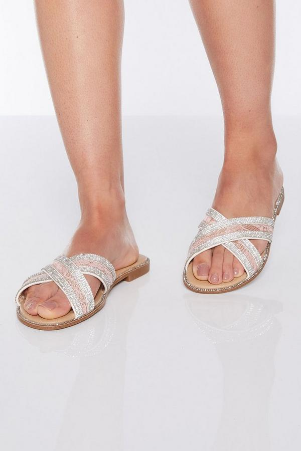 Pink Lace Diamante Flat Sandals