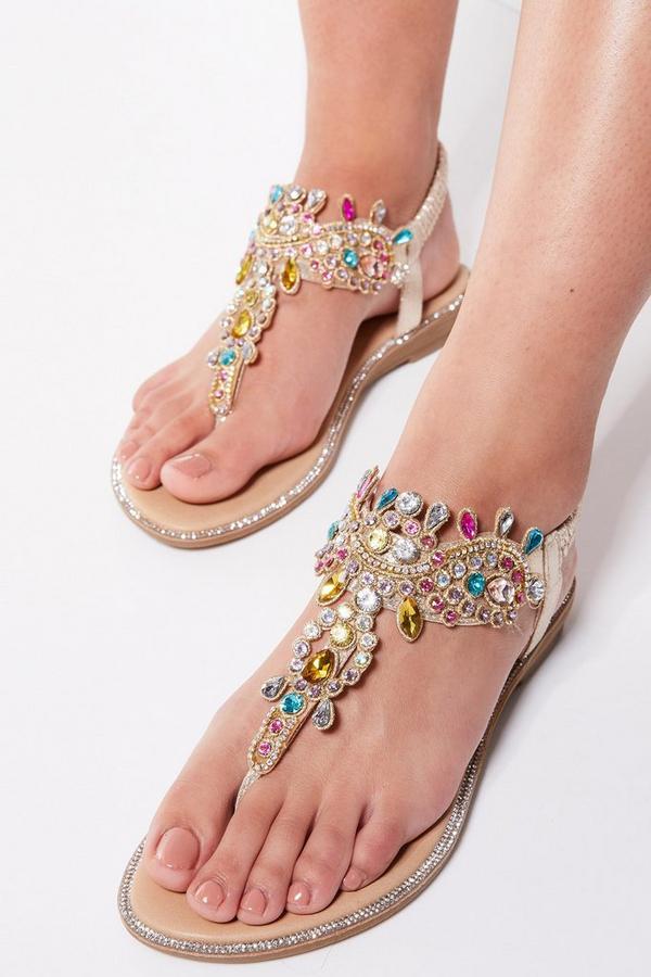 Multicoloured Jewel Trim Flat Sandals
