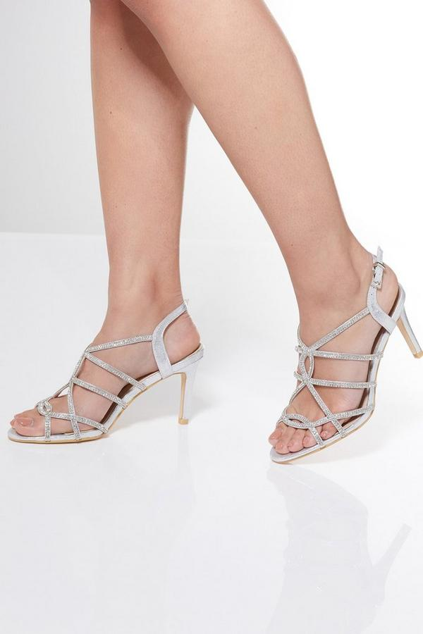 Silver Shimmer Diamante Sandals
