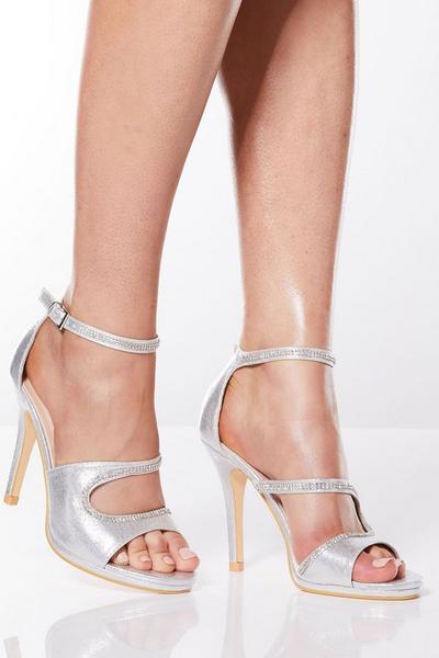 Silver Satin Diamante Strap Heel Sandals