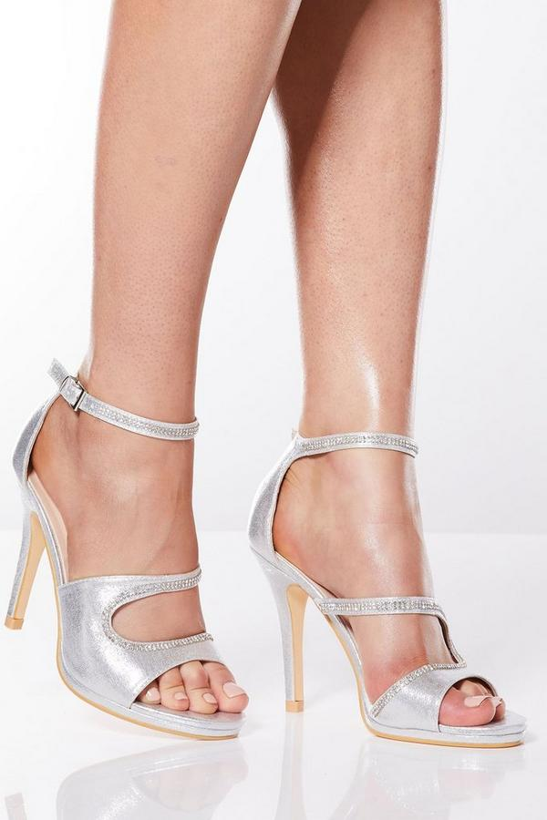 Silver Shimmer Diamante Strap Heel Sandals