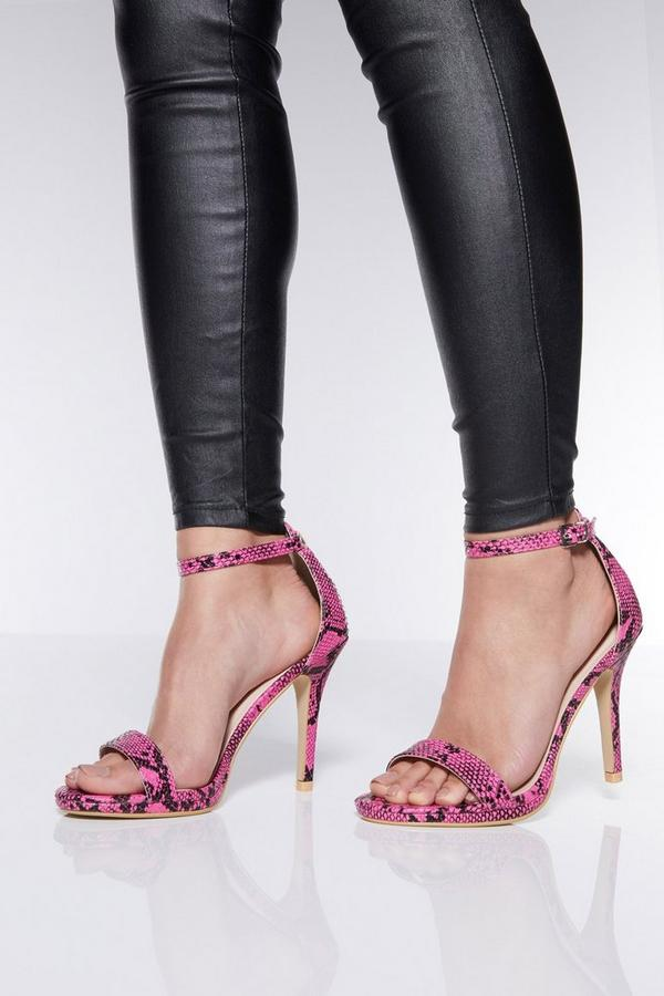 Pink Snake Print High Heel Sandals