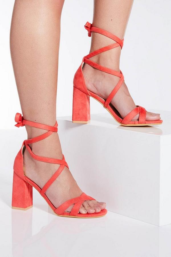 Coral Tie Up Block Heel Sandals