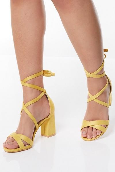 Yellow Tie Up Block Heel Sandals