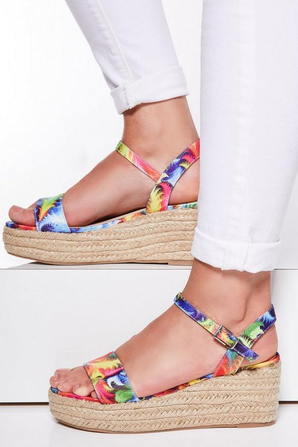 Multicoloured Print Espadrille Flatforms