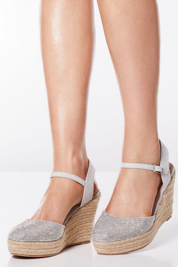 Silver Diamante Front Wedges
