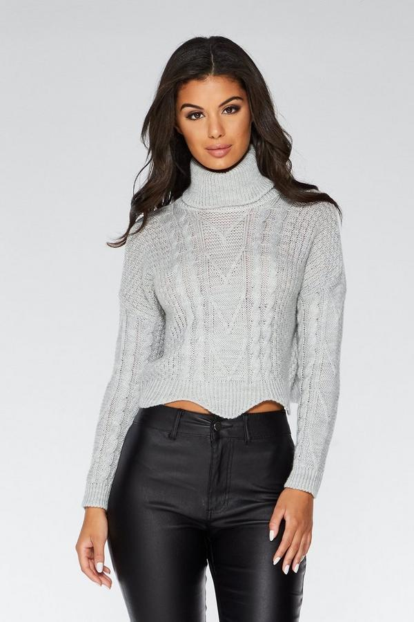 Light Grey Knitted Crop Jumper