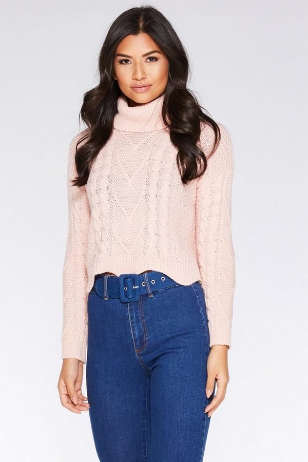Pink Knitted Crop Jumper