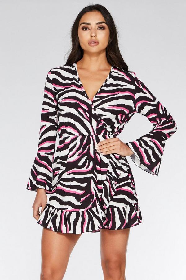 White Black and Fuchsia Zebra Print Dress